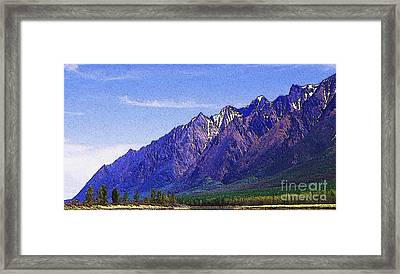 Snow Covered Purple Mountain Peaks Framed Print by PainterArtist FIN