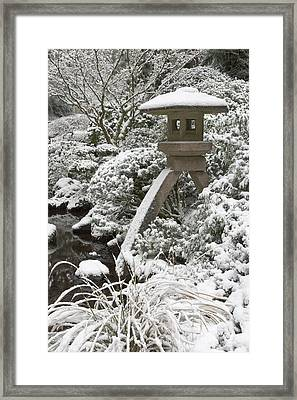 Snow-covered Stone Lantern, Portland Framed Print by William Sutton