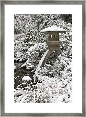 Snow-covered Stone Lantern, Portland Framed Print