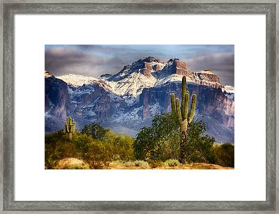 Snow Covered Superstitions  Framed Print