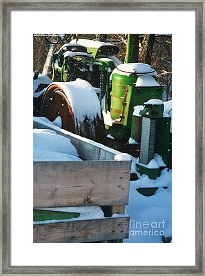 Snow Covered Tractor Framed Print by PainterArtist FIN