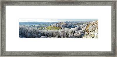 Snow Covered Trees In A Valley Framed Print