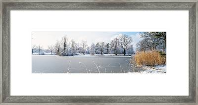 Snow Covered Trees Near A Lake, Lake Framed Print by Panoramic Images