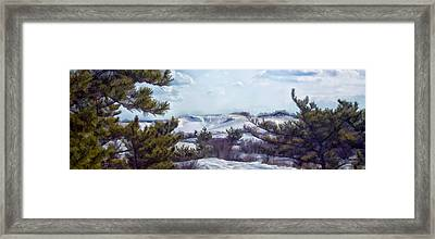 Framed Print featuring the photograph Snow Covered Dunes by Constantine Gregory