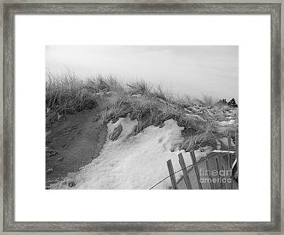 Snow Covered Sand Dunes Framed Print by Eunice Miller