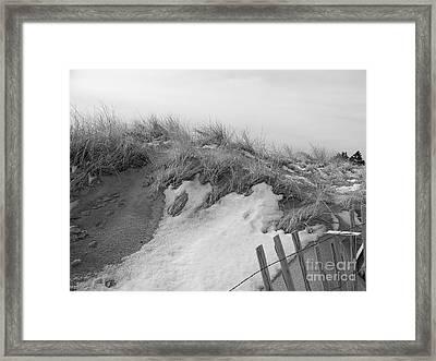 Snow Covered Sand Dunes Framed Print