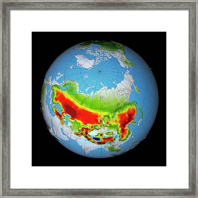 Snow Darkening Framed Print by Nasa's Scientific Visualization Studio