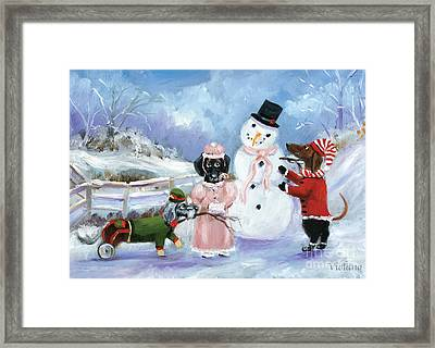 Snow Day For The Dachshund Dogs By Violano Framed Print by Stella Violano