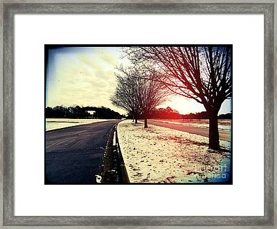 Snow Day In Texas Framed Print by Jose Benavides