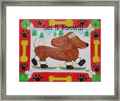 Snow Dog Framed Print by Diane Pape