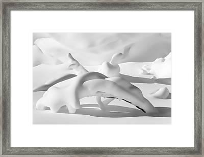 Snow Drift Fantasy Black And White Framed Print by Terril Heilman