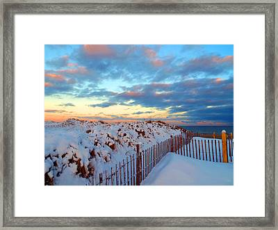 Snow Dunes At Sunrise Framed Print