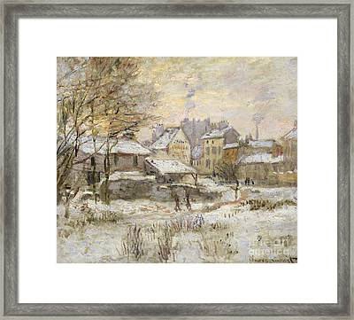 Snow Effect With Setting Sun Framed Print by Claude Monet