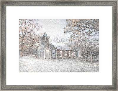 Snow Fall Old Church Framed Print by Cindy Rubin