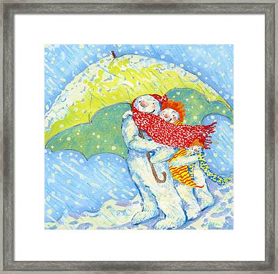 Snow Familys Winter Walk Framed Print
