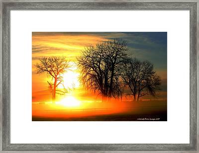 Snow Fire  Framed Print by Rebecca Adams