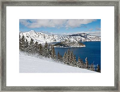 Snow Flurry - Crater Lake Covered In Snow In The Winter. Framed Print