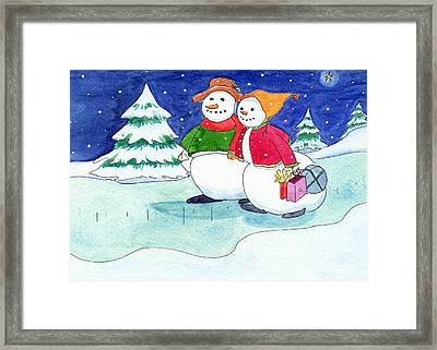 Snow Folks - Shoppers Framed Print by Katherine Miller