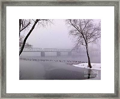 Snow From Lewis Island Bridge Framed Print