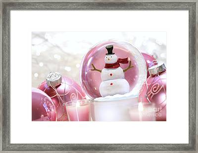 Snow Globe With Pink  Balls  Framed Print by Sandra Cunningham