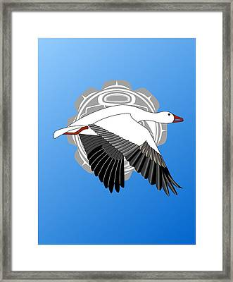 Snow Goose And Moon Framed Print by Fred Croydon
