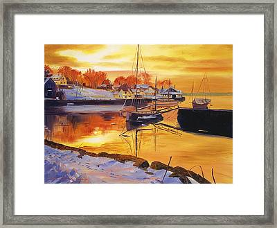 Snow Harbor Framed Print by David Lloyd Glover