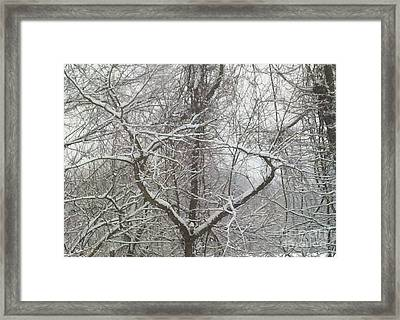 Snow Has A Heart Framed Print