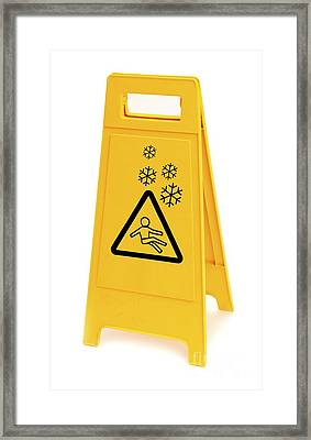 Snow Hazard Warning Sign Framed Print by Leeds Teaching Hospitals NHS Trust