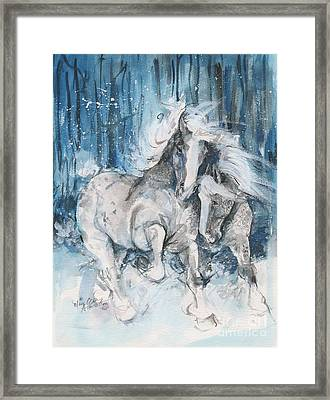 Snow Horses Framed Print by Mary Armstrong