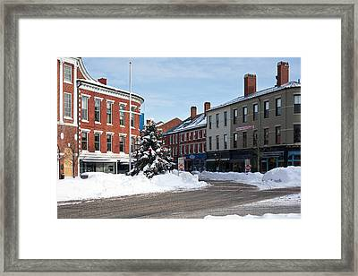 Snow In Downtown Portsmouth Framed Print