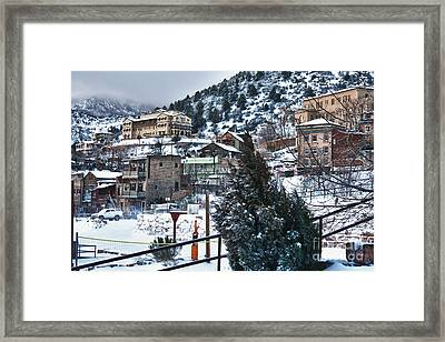 Framed Print featuring the photograph Snow In Jerome Arizona by Ron Chilston