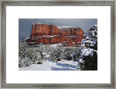 Snow In Sedona Framed Print by Donna Kennedy