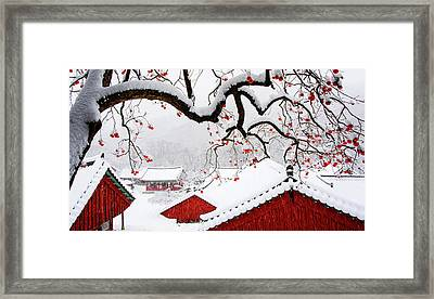 Snow In Temple Framed Print