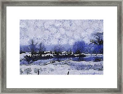 Snow In Texas Van Gogh Style Framed Print by Lorri Crossno