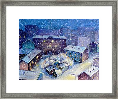 Snow In The Town Framed Print
