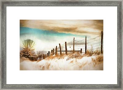 Snow In The Valley Framed Print by Kathy Jennings