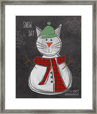 Snow Kitten Framed Print by Linda Woods