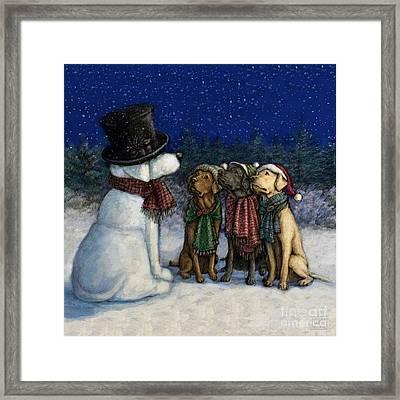 Snow Lab Framed Print by Kathleen Harte Gilsenan