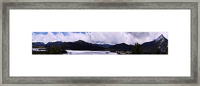 Snow Lake And Mountains Framed Print by Maria Arango Diener