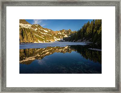 Snow Lake Beauty And Beneath Framed Print by Mike Reid