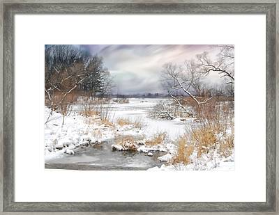 Snow Lake Framed Print by Mary Timman