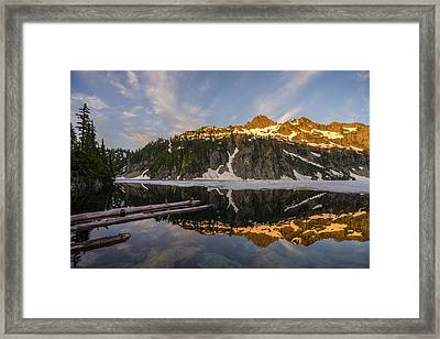 Snow Lake Morning Reflection Framed Print by Mike Reid