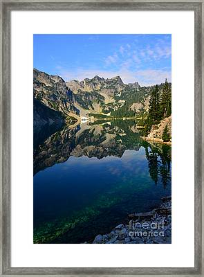 Snow Lake Reflections Framed Print by Jane Axman