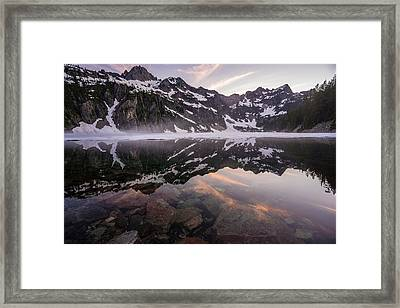 Snow Lake Sunset Colors Framed Print by Mike Reid