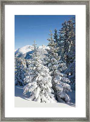 Snow Landscape In The Bernese Alps Framed Print by Martin Zwick