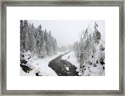 Snow Landscape - Trees And River In Winter Framed Print by Matthias Hauser
