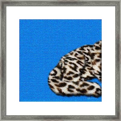 Snow Leopard Furry Bottom On Blue Framed Print