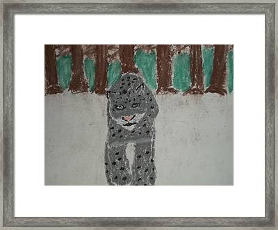 Snow Leopard Pastel On Paper Framed Print by William Sahir House