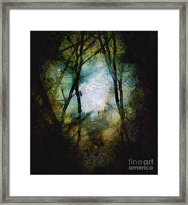 Snow Moon Embrace Framed Print by RC deWinter
