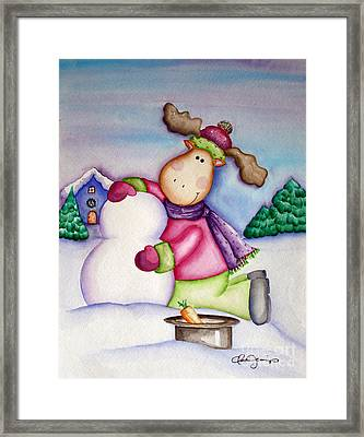 Snow Moose Framed Print by Dani Abbott